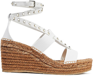 Jimmy Choo Danica Studded Leather Wedge Espadrille Sandals