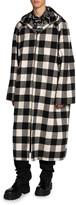 Balenciaga Men's Flannel Buffalo Check Oversized Hooded Overcoat
