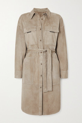 Brunello Cucinelli Bead-embellished Suede Trench Coat - Beige