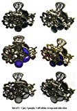 B.ella Set of 3 Small Metal Jaw Clips with Beads and Rhinestones U86420-1515-3jet/pur/offwhite