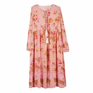 Top Vigor TOP-VIGOR Women's Casual Boho Dresses for Women Bohemian Long Sleeve Floral Print Retro Neck Tie Beach Style Long Midi Dress Pink
