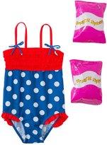Jump N Splash Toddler Girls' Pretty Polka Dot One Piece Swimsuit w/ Free Floaties (2T3T) - 8143050