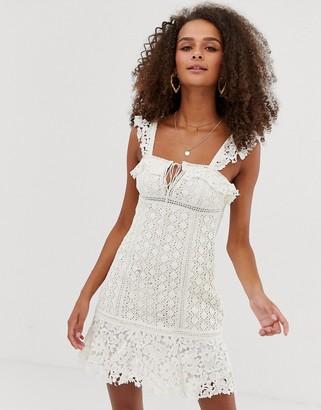 Free People Cross My Heart lace mini dress-White