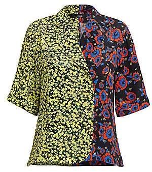 Rokh Women's Hawaiian Mixed Print Bowling Shirt