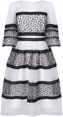 True Decadence White & Black Embroidered Floral Tiered Maxi Dress