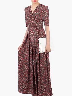 Jolie Moi Cross Front Maxi Dress, Red Multi