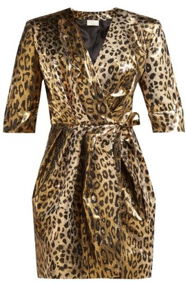 Sara Battaglia Leopard-print Lame Wrap Mini Dress - Leopard