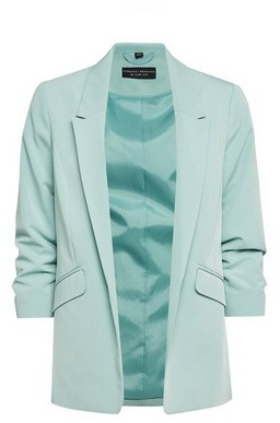 Dorothy Perkins Womens Seafoam Green Ruched Sleeve Jacket, Green