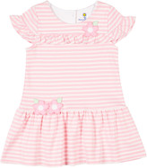 Florence Eiseman Girl's Stripe Knit Ruffle Dress w/ Flower Appliques, Size 2-4T