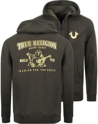 True Religion Double Puff Full Zip Hoodie Green