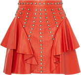 Elie Saab Leather Ruffle Mini Skirt