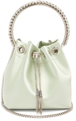 Jimmy Choo Bon Bon Crystal-embellished Satin Clutch - Womens - Light Green
