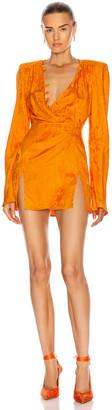ATTICO Caravan Rose Jacquard Mini Dress in Orange | FWRD