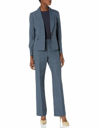 Le Suit LeSuit Women's 1 Button Shawl Collar Multi-Tone Novelty Pant Suit