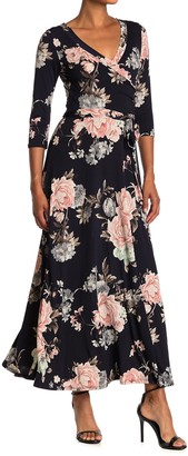 WEST KEI Floral Knit Wrap Maxi Dress