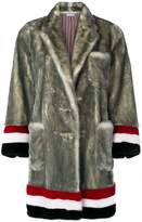 Thom Browne Single Breasted Sack Overcoat With Intarsia Red, White And Blue Stripe In Dyed Long Hair Mink Fur