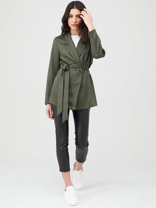 Very Tie Waist Soft Tailored Jacket - Khaki