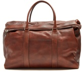 Brunello Cucinelli Top-handle tarnished-leather holdall