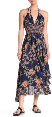 Angie Halter Neck Floral Print Maxi Dress