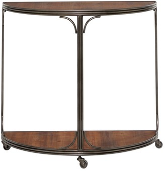 "Studio 350 Half-Moon Wood And Metal Console Table With 3-Wheel Base 33.5"" X 30.5"" - 34 x 17 x 31"