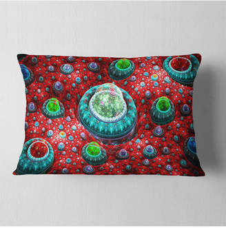 """Designart Red Fractal Exotic Planet Abstract Throw Pillow - 12"""" X 20"""""""