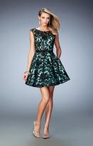 La Femme 21876 Lace Sheer Bateau A-line Dress