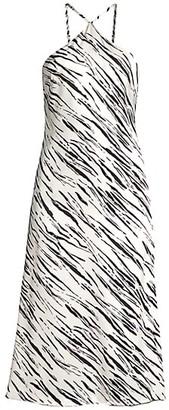 Fame & Partners Alina Zebra-Print Halter Dress