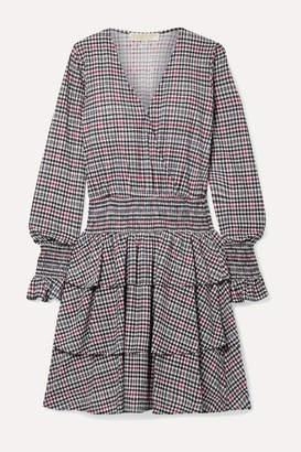 MICHAEL Michael Kors Wrap-effect Tiered Checked Voile Mini Dress - Black