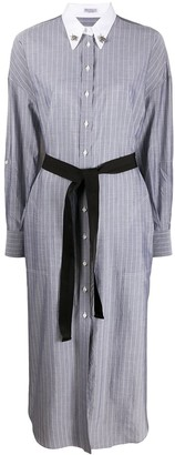 Brunello Cucinelli Embellished-Collar Pinstriped Shirtdress
