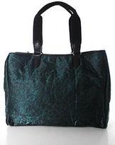 Sondra Roberts Green Black Leather Trim Structured Rectangular Large Tote Bag
