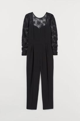 H&M Jumpsuit with Lace Yoke - Black