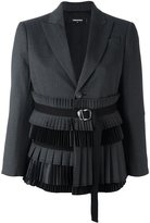 DSQUARED2 belted ruched waist blazer - women - Silk/Polyester/Spandex/Elastane/Virgin Wool - 42