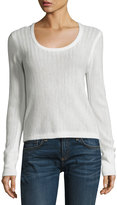 Rag & Bone Estelle Herringbone Cashmere Scoop-Neck Sweater, Ivory