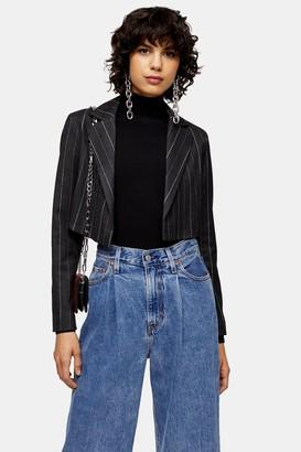 Topshop Womens Grey Pinstripe Crop Blazer - Grey