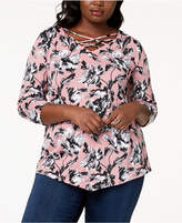NY Collection Plus Size Printed Asymmetrical Top