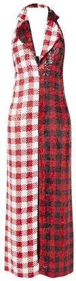 Ashish Halterneck Gingham Sequinned Dress - Red White