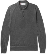 Brunello Cucinelli Contrast-tipped Cashmere And Silk-blend Polo Shirt - Charcoal