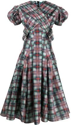 Chopova Lowena Tartan-Print Puff-Sleeve Dress