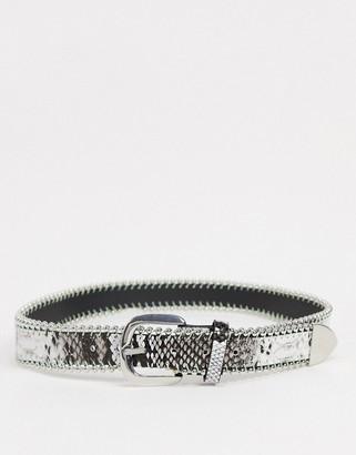 ASOS DESIGN slim belt in grey snakeskin faux leather with metal detail