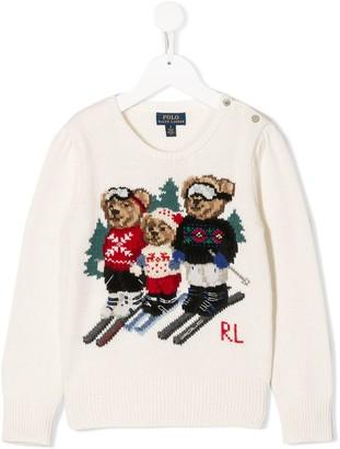 Ralph Lauren Kids bear family jumper