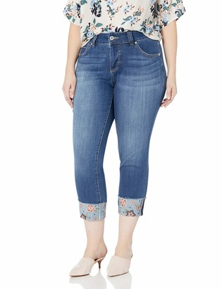 Jag Jeans Women's Plus Size Carter Girlfriend Jean with Embroidered Cuff