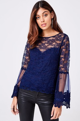 Girls On Film Carnation Navy Lace Flute Sleeve Top