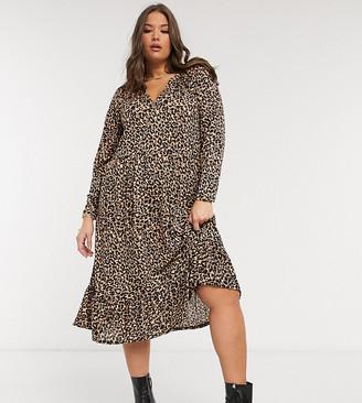 ASOS DESIGN Curve midi smock dress with grandad collar in animal print