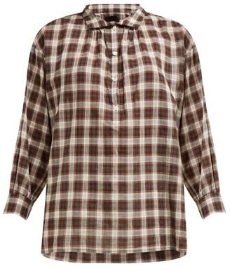 Nili Lotan Myra Checked Shirt - Brown Multi