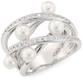 Mikimoto 18K White Gold, 5MM White Cultured Akoya Pearl & Diamond Ring