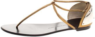 Giuseppe Zanotti Bronze Metallic Leather T-Strap Flat Sandals Size 40