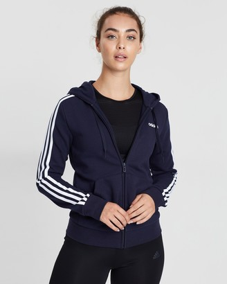 adidas Women's Blue Hoodies - Essentials 3-Stripes Full-Zip Hoodie - Size XXS at The Iconic