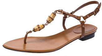 Gucci Brown Leather Bamboo Embellished Thong Sandals Size 38