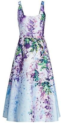 Marchesa Notte Floral Satin Fit & Flare Dress