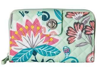 Vera Bradley Mint Flowers Turnlock